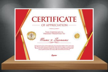 Free High Quality Certificate Mockup in PSD