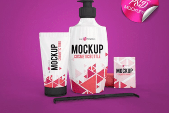 A Full Set of Cosmetic Packaging PSD Mockup