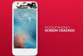 Free Cracked iPhone Scene Mockup in PSD