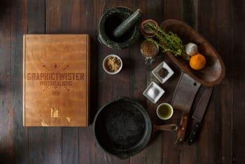 Free Kitchen Cutting Board Scene Mockup in PSD