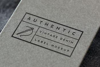 Free Vintage Denim Label Logo Mockup in PSD