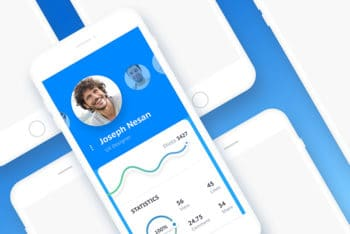 Free Diagonal Smartphone Device Mockup in PSD