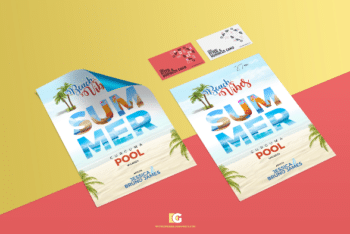 Set of Flyer and Business Card PSD Mockup
