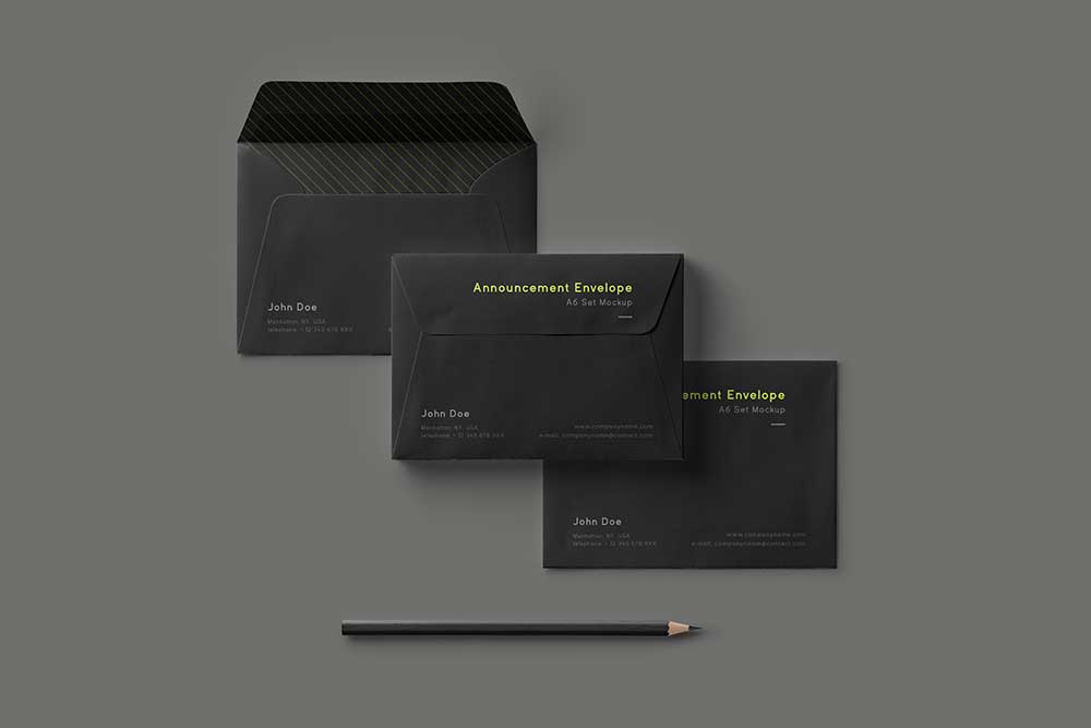 free envelope set mockup