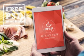 Free iPad Mini Plus Food Scene Mockup in PSD