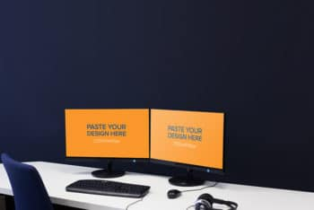 Free Dual Monitor Computer Setup Mockup in PSD