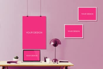 Free Modern Creative Workspace Zone Mockup in PSD