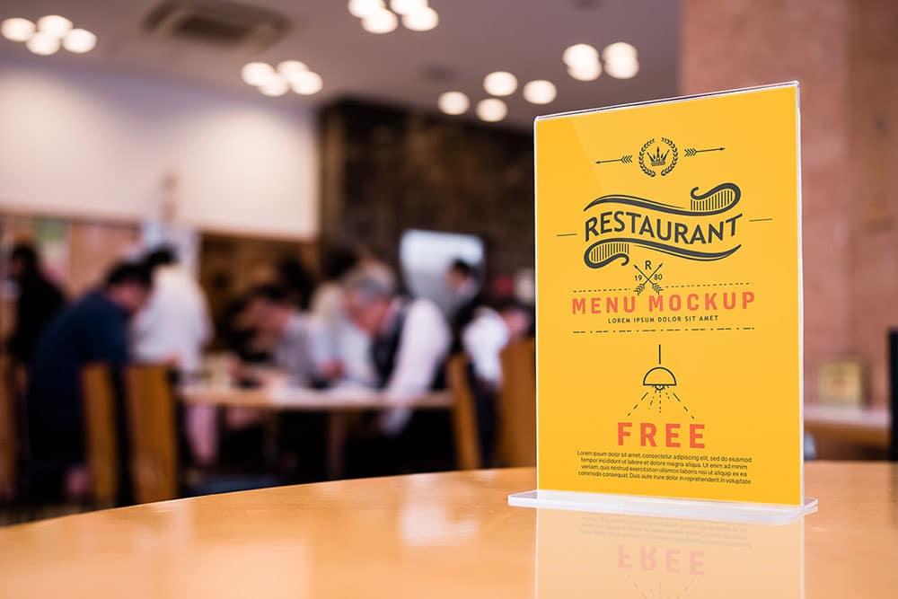 free bar menu mockup