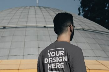 Free Customizable Male T-Shirt Back Mockup in PSD