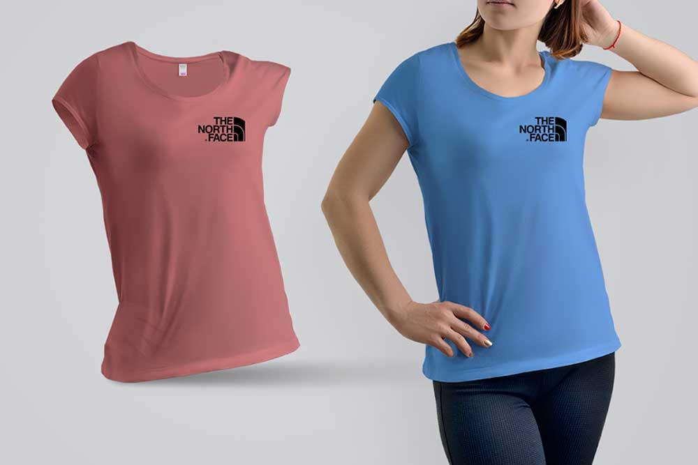 free woman t-shirt psd mockup