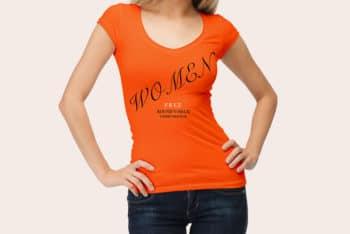 Free Woman Wearing Shirt Pose Mockup in PSD