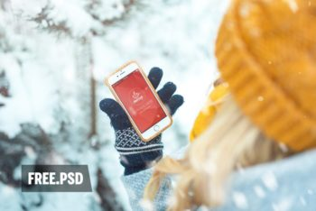 Free Girl Holding Phone Plus Forest Mockup in PSD