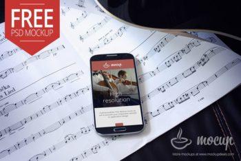 Free Samsung Smartphone Musician Scene Mockup