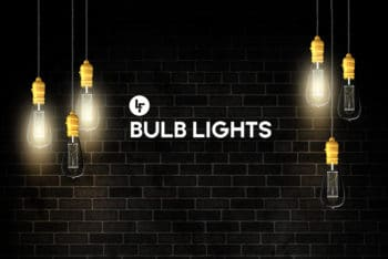 Free Hanging Light Bulbs Mockup in PSD