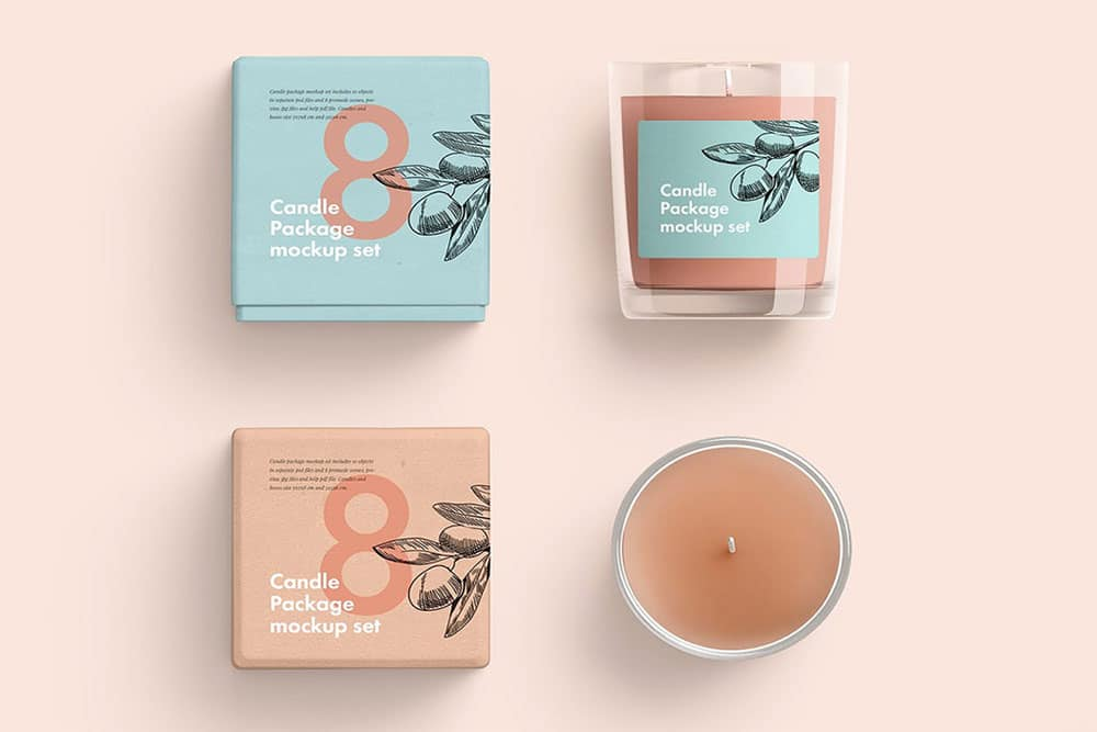 free glass candle mockup