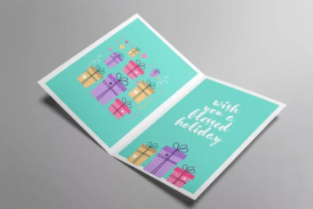 Beautiful Free Greeting Card PSD Mockup