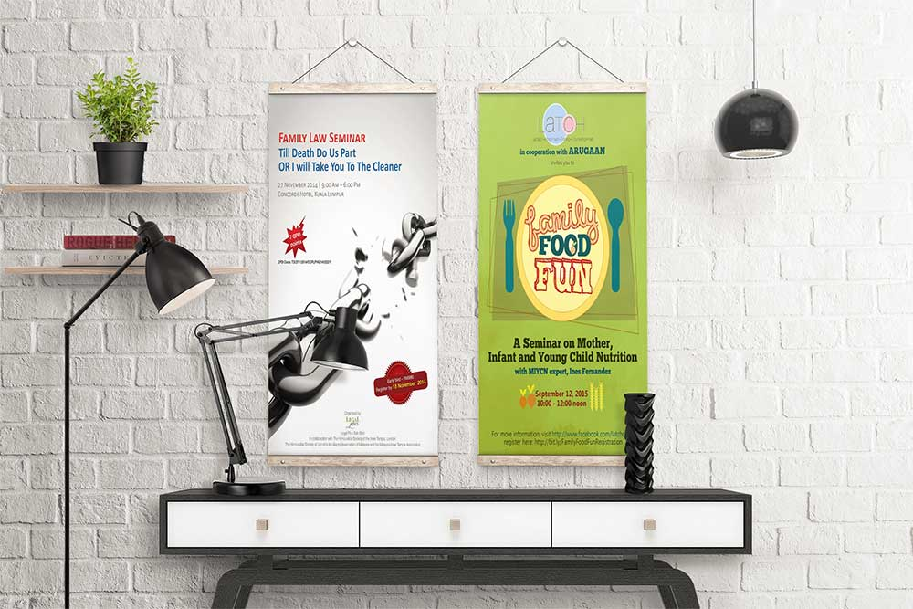 hanging roll up banner mockup