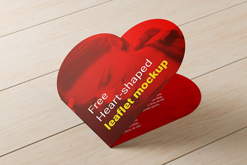 heart shaped leaflet mockup