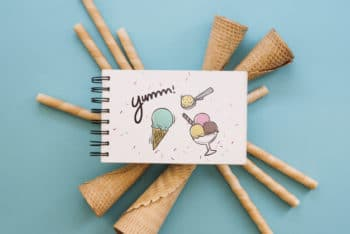 Free Sweet Ice Cream Cones Mockup in PSD