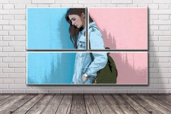Free Brick Wall Photo Design Mockup in PSD