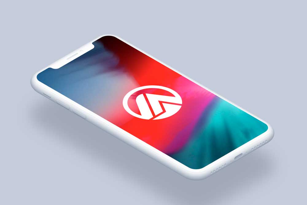 isometric clay iphone x psd mockup