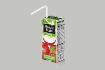 Juice Packaging Box Mockup In PSD