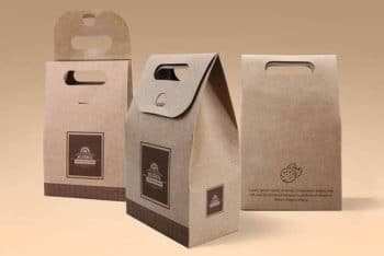 Free Kraft Paper Bag Mockup In PSD