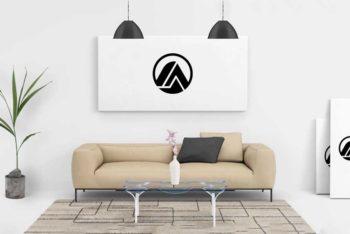 Living Room Poster Mockup in PSD