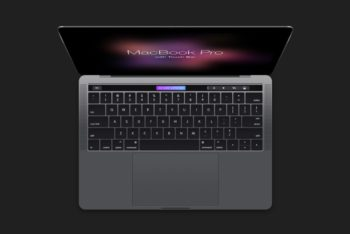 Free MacBook Plus Touch Bar View Mockup in PSD