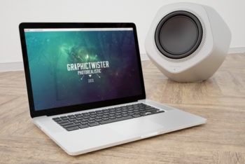 MacBook Plus Bang Olufsen Speaker Mockup Freebie