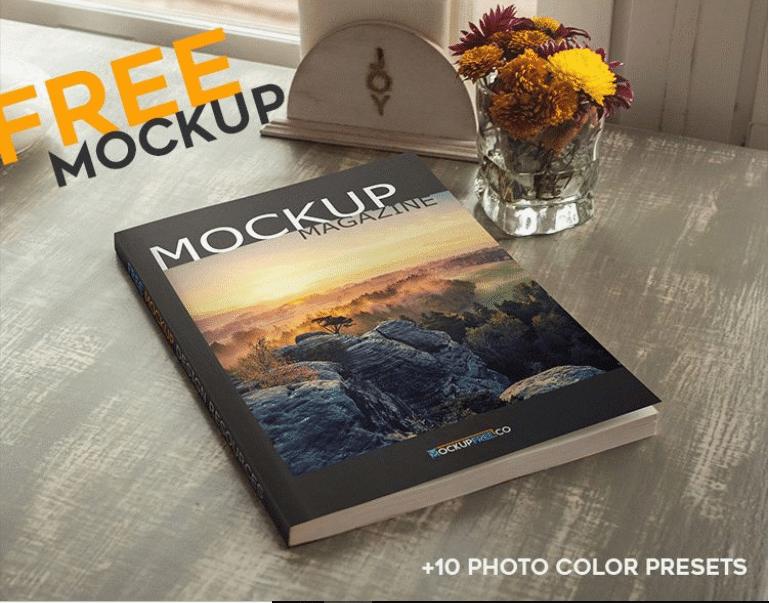 Free Magazine PSD Mockup Template Design