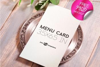 Sober Designed Menu Card PSD Mockup – Available For Free