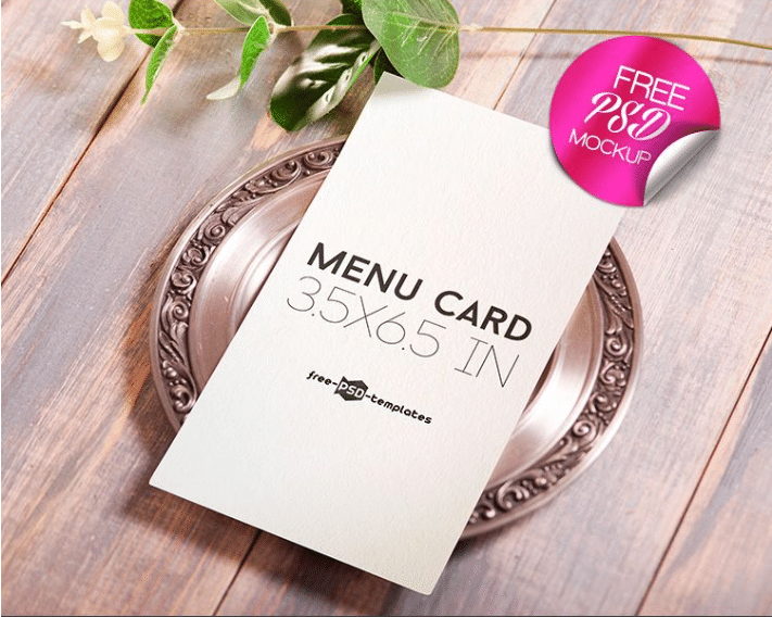 Menu Card PSD Mockup Template Free Download DesignHooks - Menu mockup template