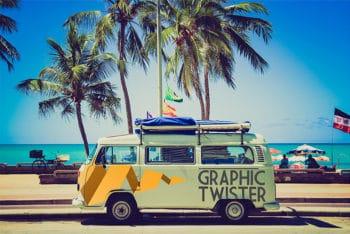 Free Warm Miami Bus Design Mockup in PSD