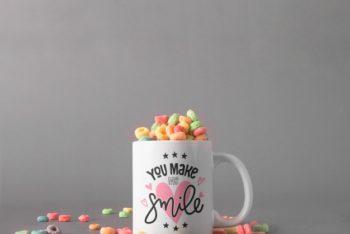 Free Mug Plus Cereals Template Mockup in PSD