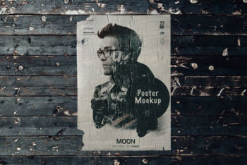 Free Weathered Vintage Poster Mockup in PSD