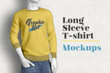 Fashionable Long-Sleeve T-shirt Mockup for Men