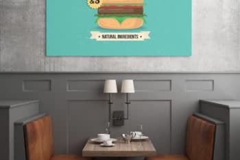 Free Restaurant Wall Poster Mockup in PSD