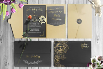 Set of Invitation Card Mockup In PSD
