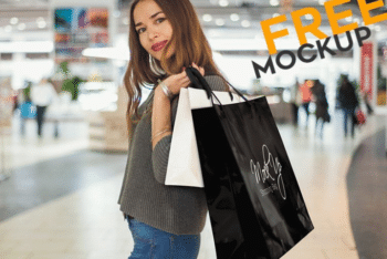 Shopping Bag Collection PSD Mockup With Photorealistic Look