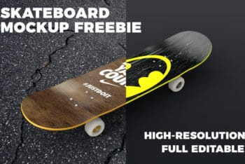 Free Cool Skateboard Design Mockup in PSD