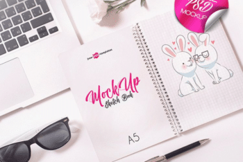 Cute Looking Sketchbook PSD Mockup