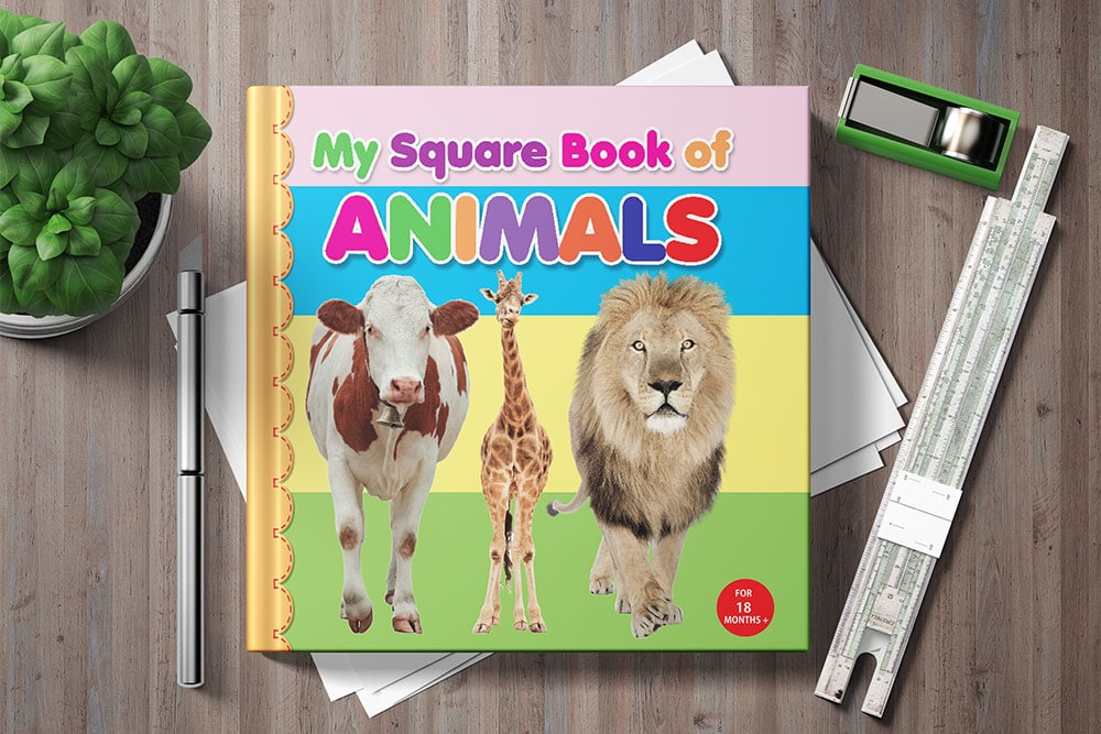 square book mockup free psd