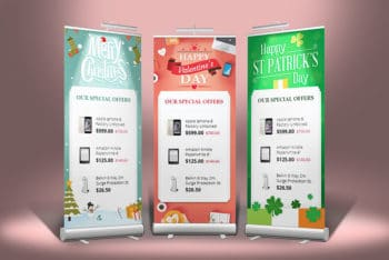3 Stand Roll-Up Banner Mockup