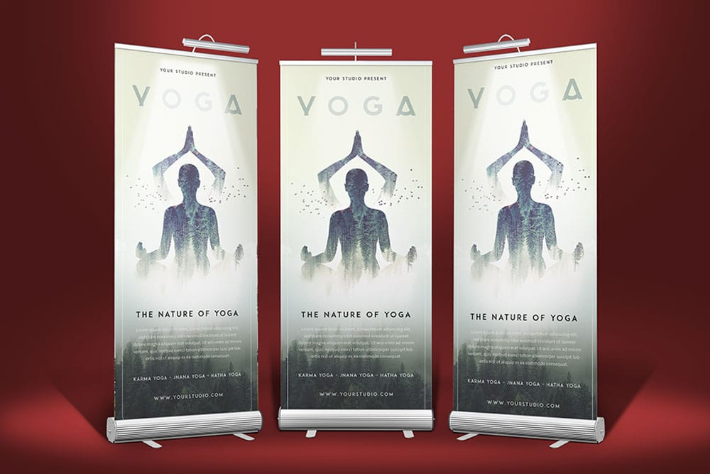 stand roll up banner mockup