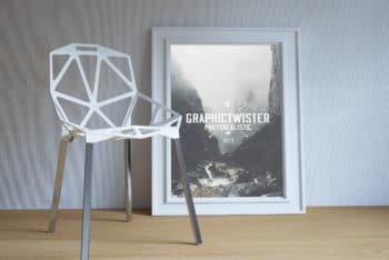Free Poster Frame Plus Modern Chair Mockup