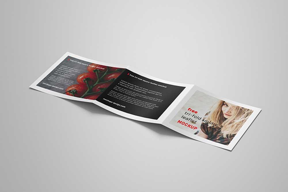 square trifold leaflet mockup