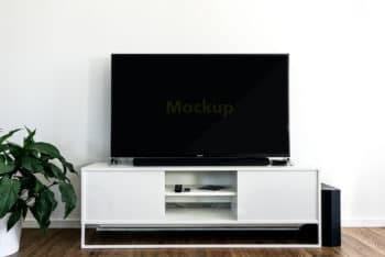 Free Large Flatscreen TV Set Mockup in PSD