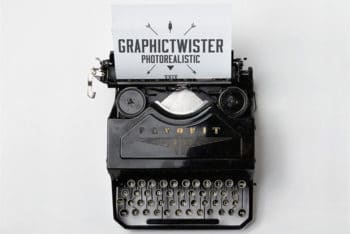 Free Vintage Typewriter Design Mockup in PSD