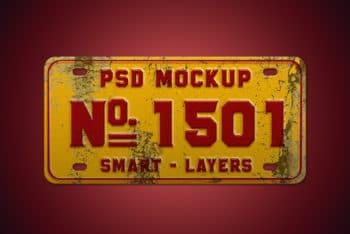 Free Vintage Number Plate Mockup in PSD